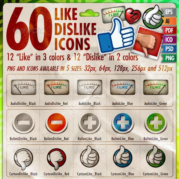 60 Like/Dislike Icons