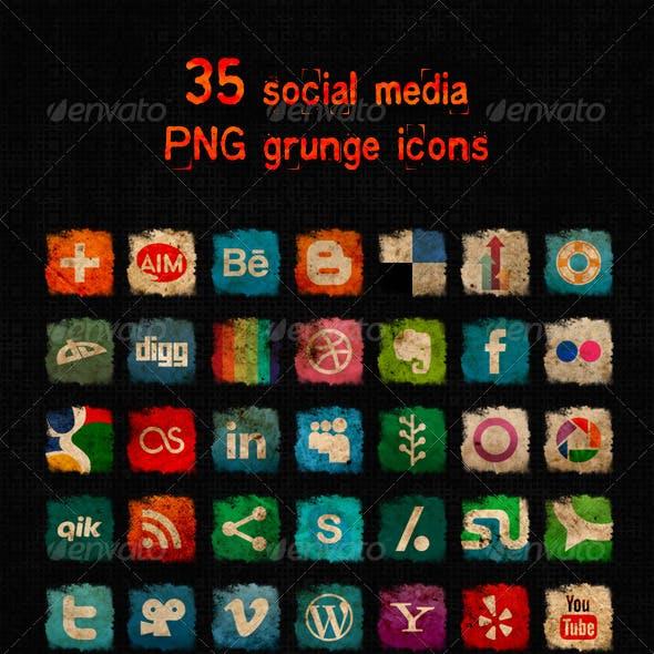 Social Media Grunge Icons
