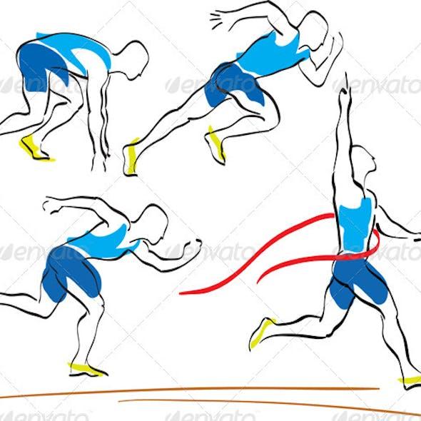 Set Of Running Man Crossing The Finishing Line