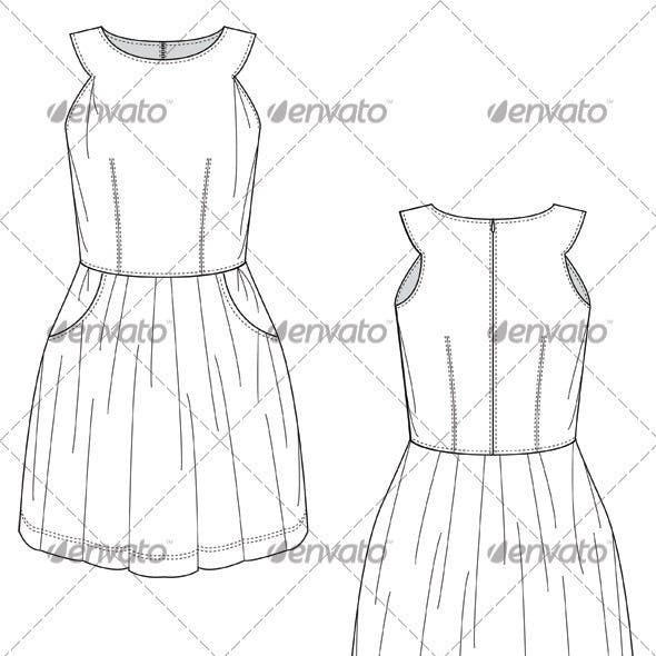 Flat Sketches for Mini Party Dress with Full Skirt