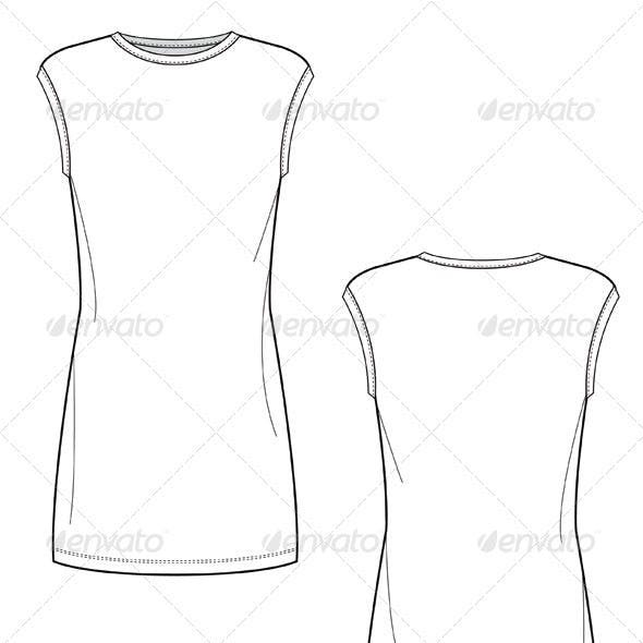 Flat Sketches for Body Conscious Knit Mini Dress