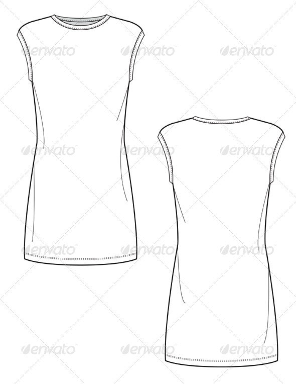 Flat Sketches for Body Conscious Knit Mini Dress - Man-made Objects Objects