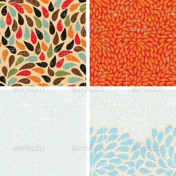 Seamless Abstract Retro Drops Patterns - Patterns Decorative