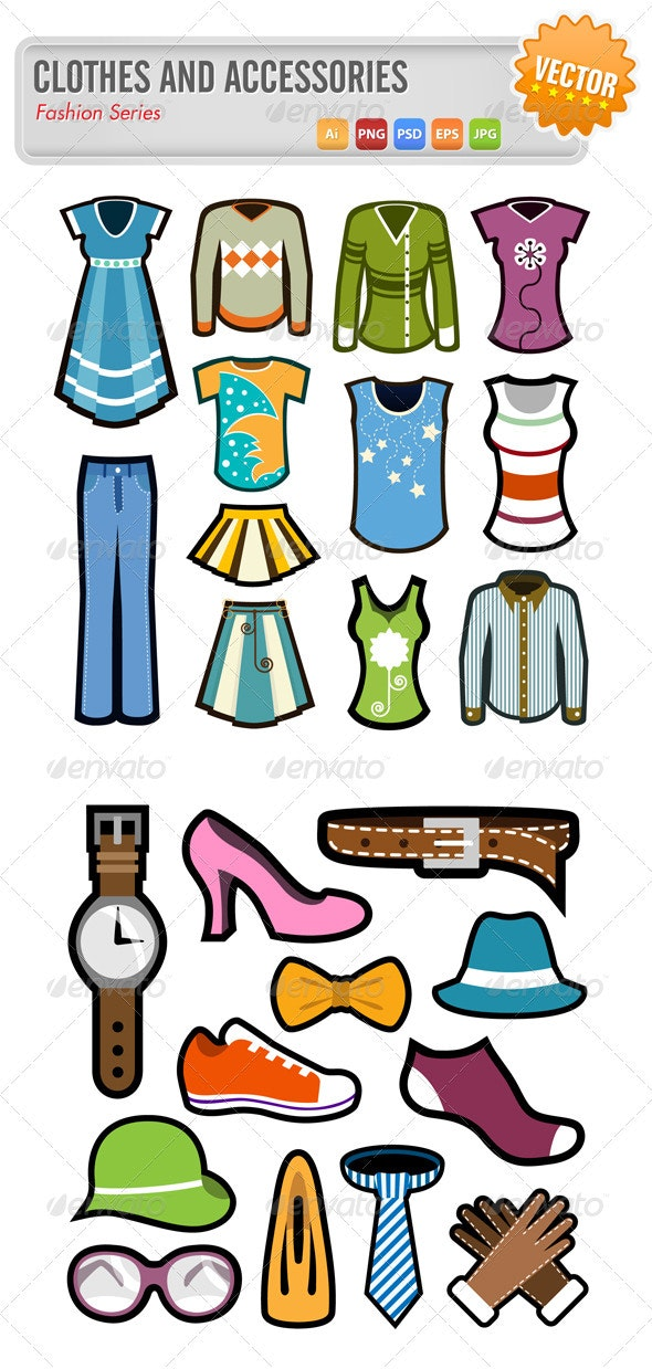 Clothes and Accessories - Objects Vectors
