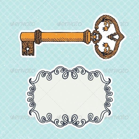 Decorative Vintage Key on Checkered Background