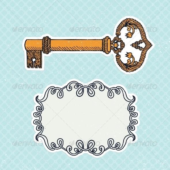 Decorative Vintage Key on Checkered Background - Backgrounds Decorative