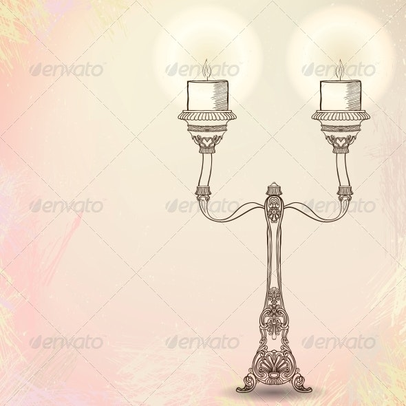 candlestick with two stems on watercolor - Man-made Objects Objects