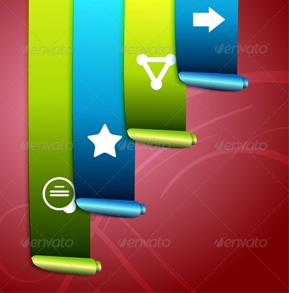 Colorful scroll ribbons infographic design - Web Elements Vectors