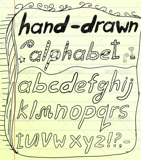 Black vector hand drawn alphabet doodles - Web Elements Vectors