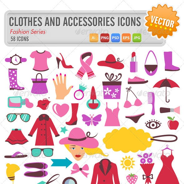 58 clothes and accessories icons