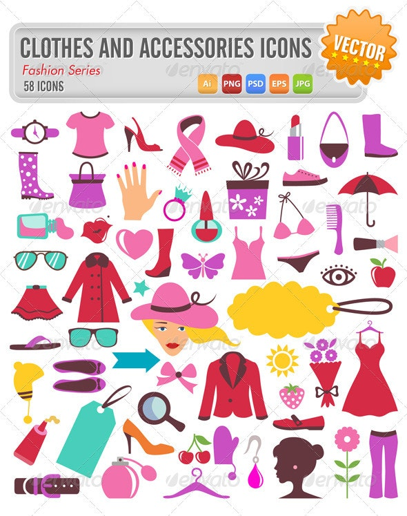 58 clothes and accessories icons - Objects Vectors