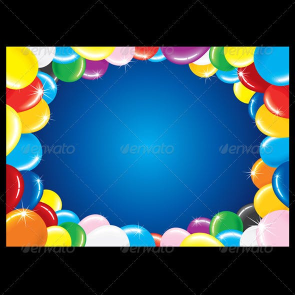 Multicolored Balloons Frame. Vector Graphics