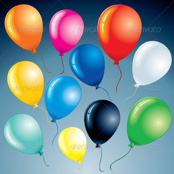 Isolated Colorful Balloons. Vector Clipart - Seasons/Holidays Conceptual