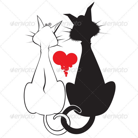 Pair of Cats. Vector Illustration - Animals Characters