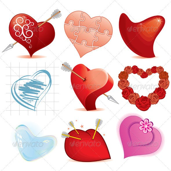 Set of Heart Icons. Vector Image