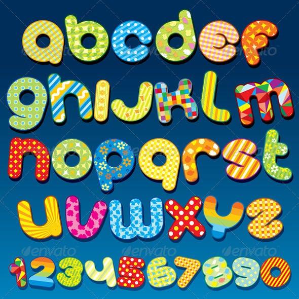 Mottle Vector Alphabet. Vector Clipart
