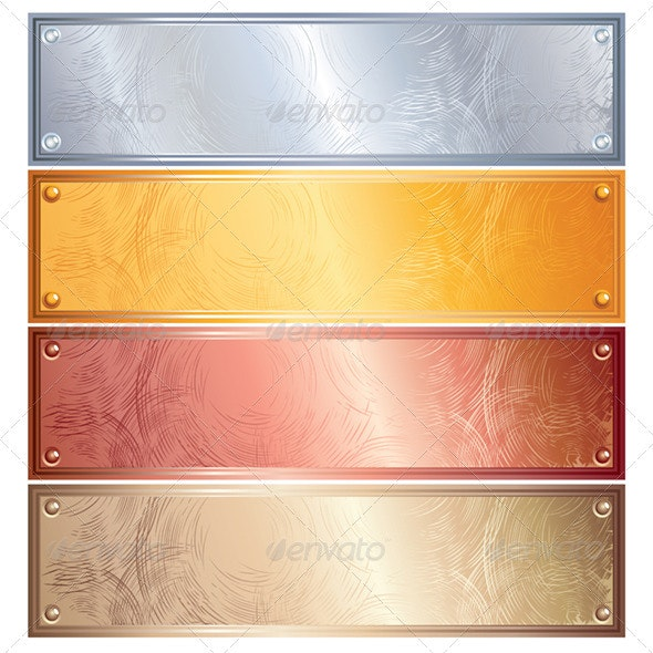 Metallic Plates, Banners. Vector Image - Backgrounds Decorative