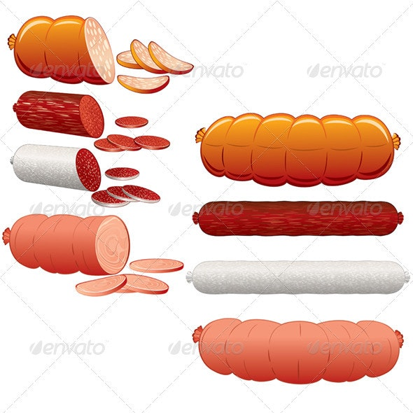 Wurst and Sausages. Vector Clip Art - Food Objects