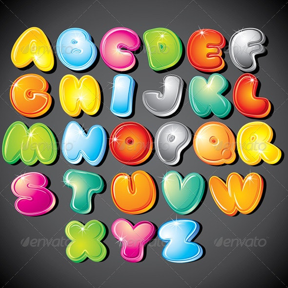 Funky Cartoon Alphabet. Vector Clipart - Decorative Symbols Decorative
