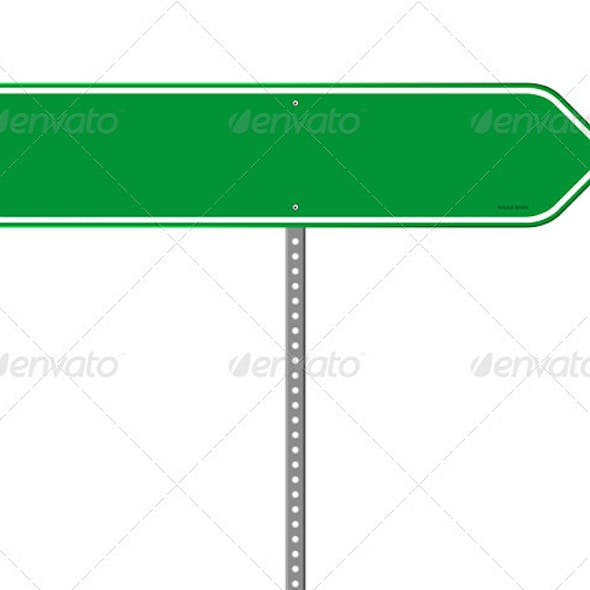 Empty Green Direction Sign