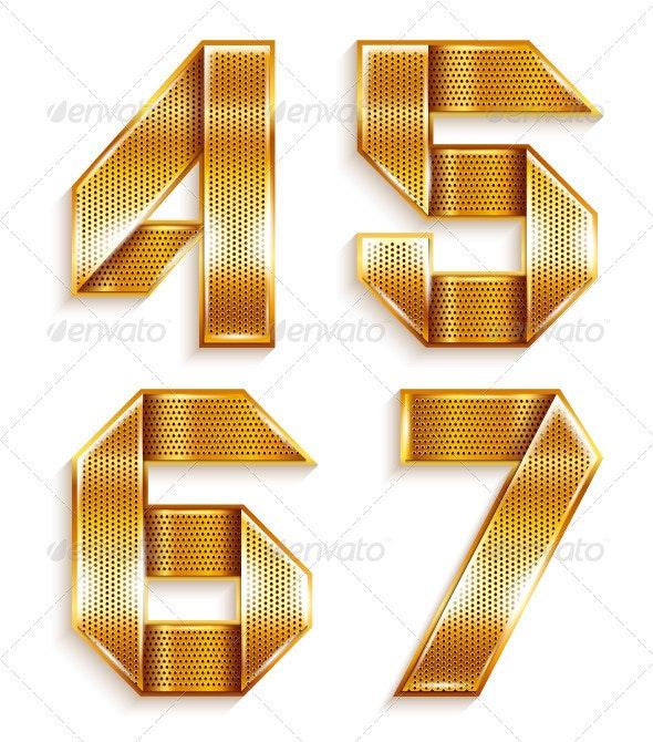 Numerals folded from a metallic golden ribbon - Decorative Symbols Decorative
