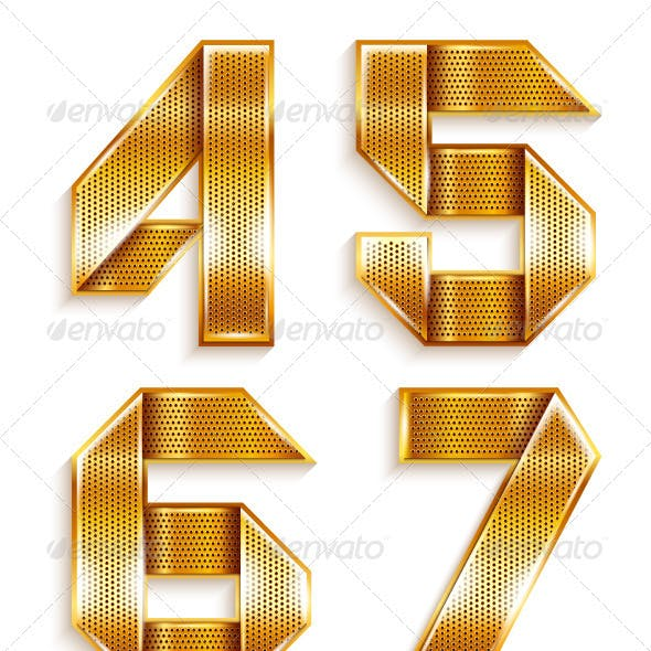 Numerals folded from a metallic golden ribbon