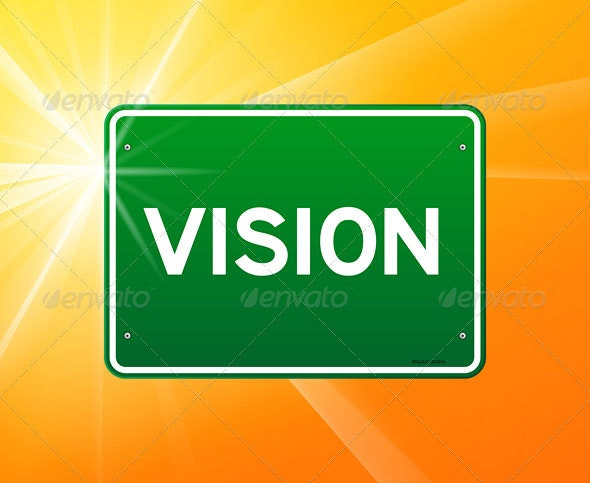 Vision Green Sign - Objects Vectors