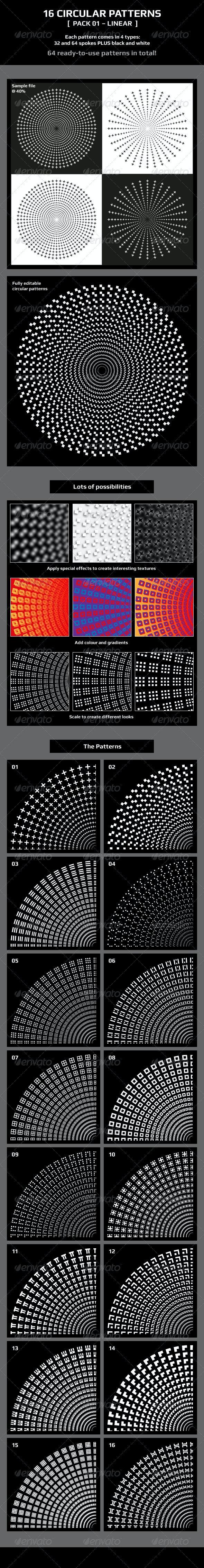 16 Circular Patterns - [Pack 01 - Linear] - Patterns Decorative
