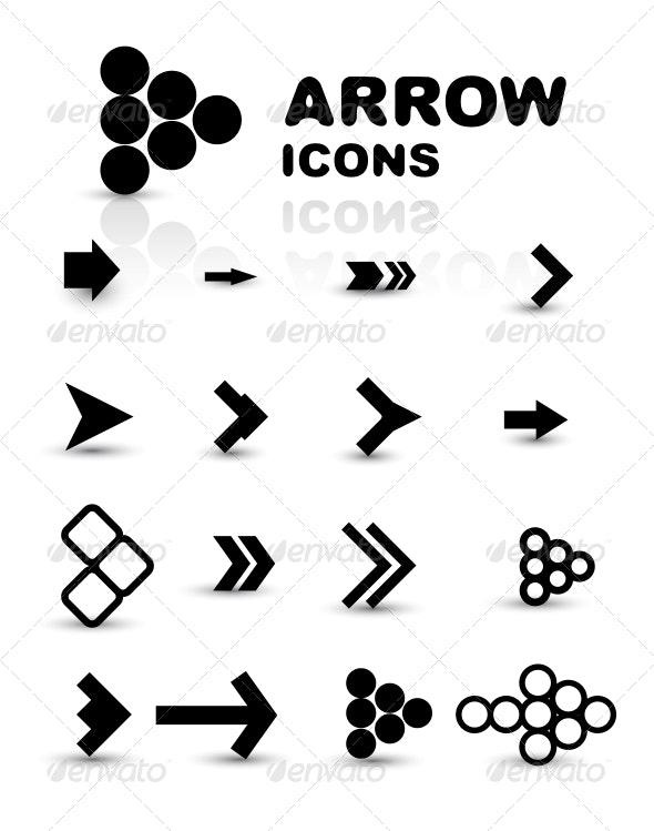 Vector Set of Black Arrow Icons - Web Technology
