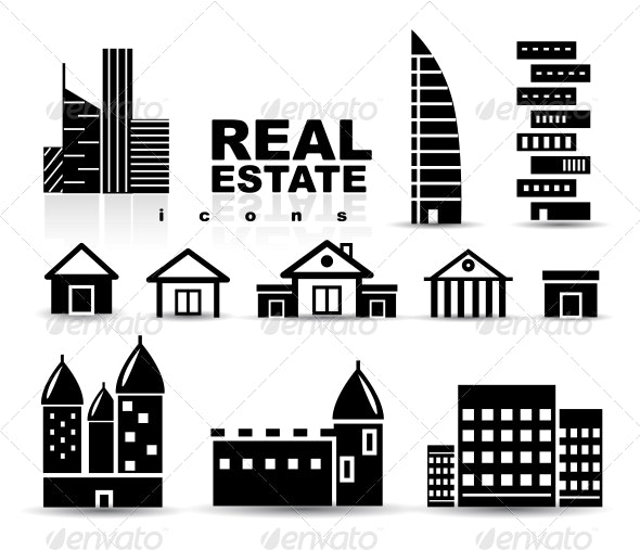 Black Real Estate Houses Buildings Icon Set - Buildings Objects