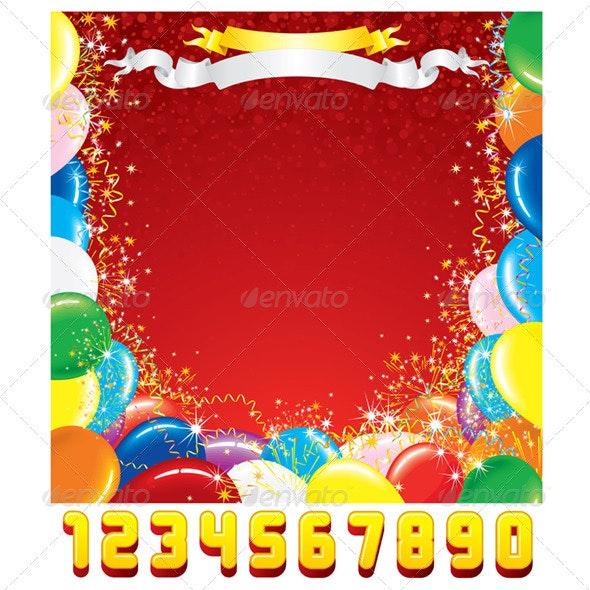 Birthday Greeting Card. Vector Template - Birthdays Seasons/Holidays