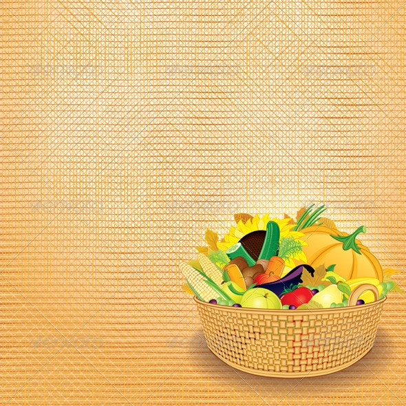 Rich Autumn Harvest. Vector Image - Food Objects