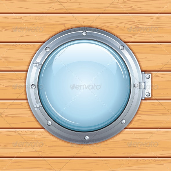 Ship Window on Wooden Wall. Vector Illustration - Travel Conceptual