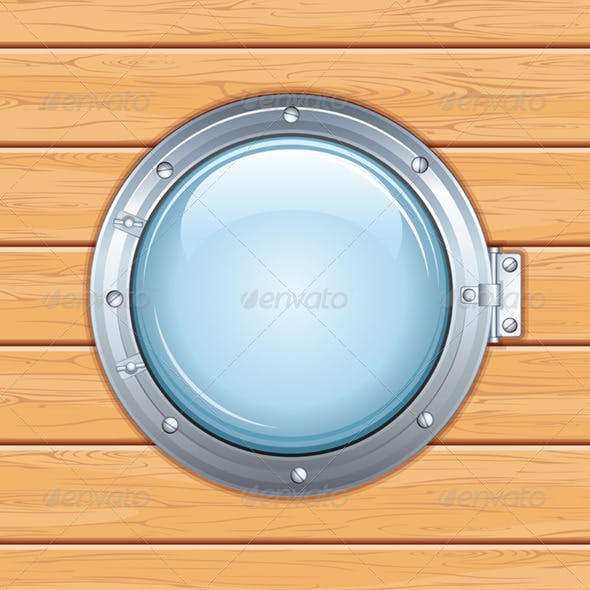 Ship Window on Wooden Wall. Vector Illustration