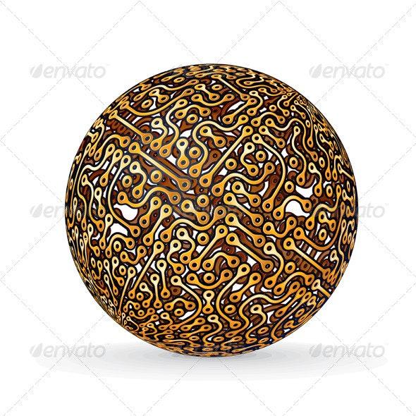 Circuit Board Planet. Vector Image - Decorative Symbols Decorative