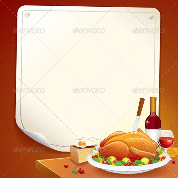 Thanksgiving Day Card. Vector Illustration - Food Objects