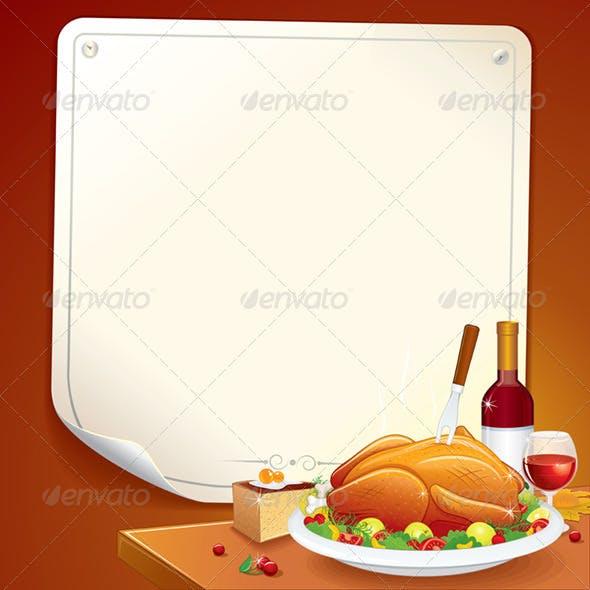 Thanksgiving Day Card. Vector Illustration