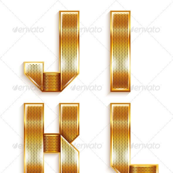 Roman Alphabet Folded From A Metallic Gold Ribbon