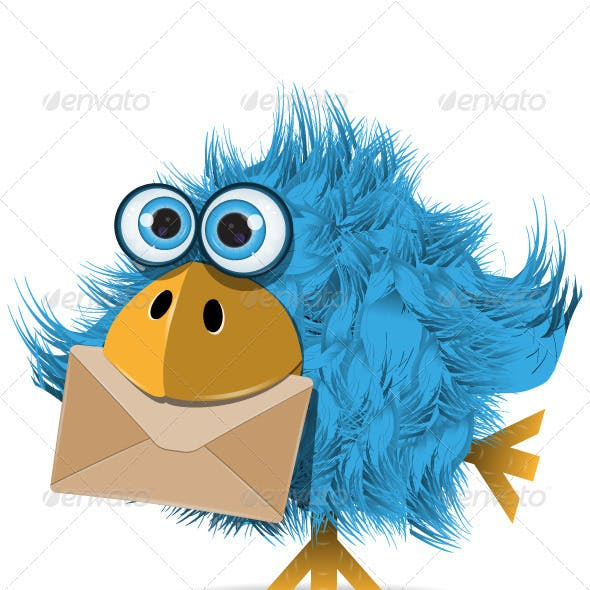 Shaggy Blue Bird with Envelope