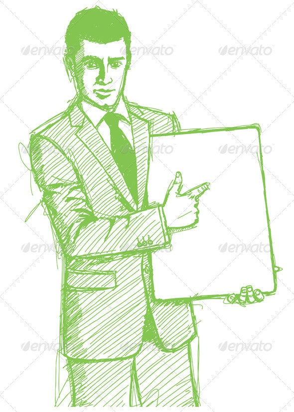 Sketch Businessman with Empty White Board - People Characters