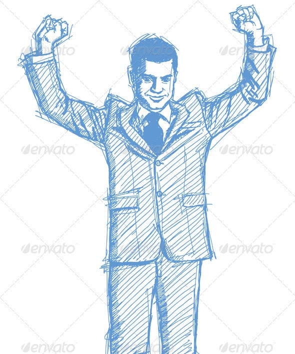 Sketch Businessman with Hands Up - People Characters