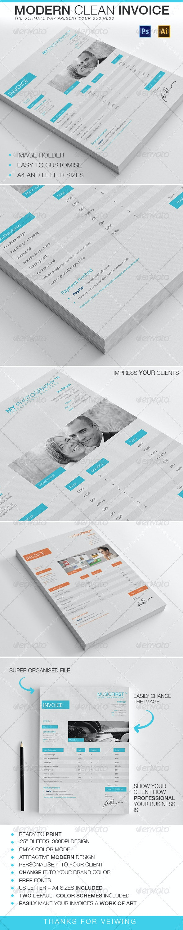 Modern Clean Invoice - Proposals & Invoices Stationery