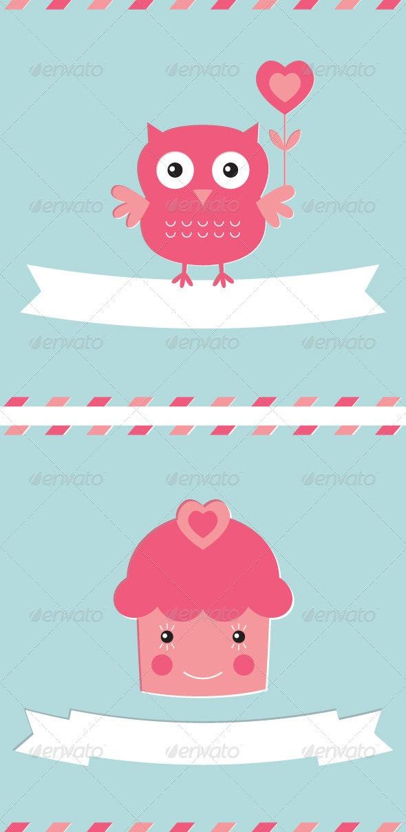 2 Vector Love Cards Set - Valentines Seasons/Holidays