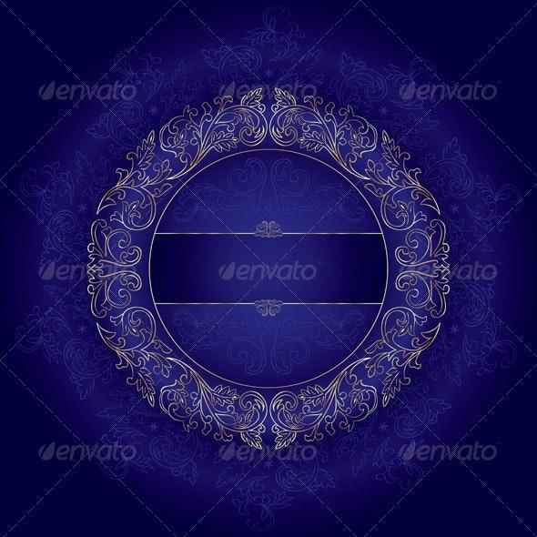 Violet gold floral vintage vector background - Backgrounds Decorative