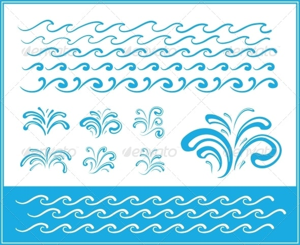 Set of Wave Symbols for Design - Seasons Nature