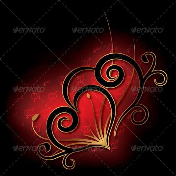 Decorative Heart Background Valentine's Day Card