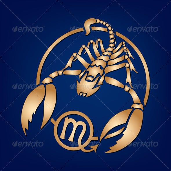 Scorpio Zodiac Sign on a Dark Blue Background