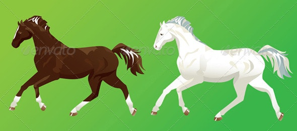 2 horses on green background - Animals Characters
