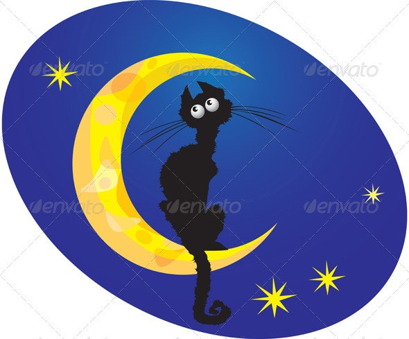 cat on moon  - Animals Characters