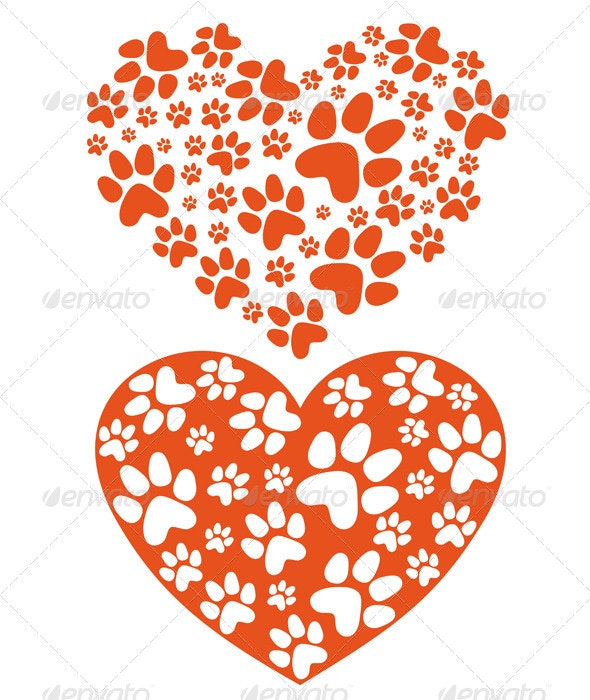 Animal Paws Heart, Vector - Animals Characters